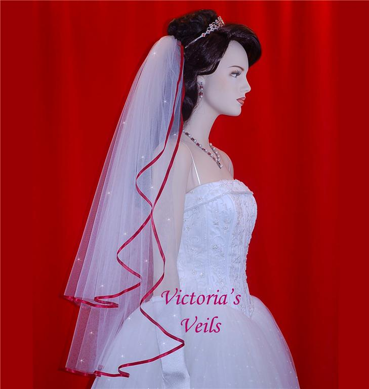 Two Tier Wedding veil with Apple ribbon