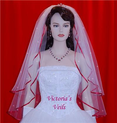 "APPLE RED BRIDAL SWAROVSKI CRYSTAL WEDDING VEIL 28""x33"" 47R2"