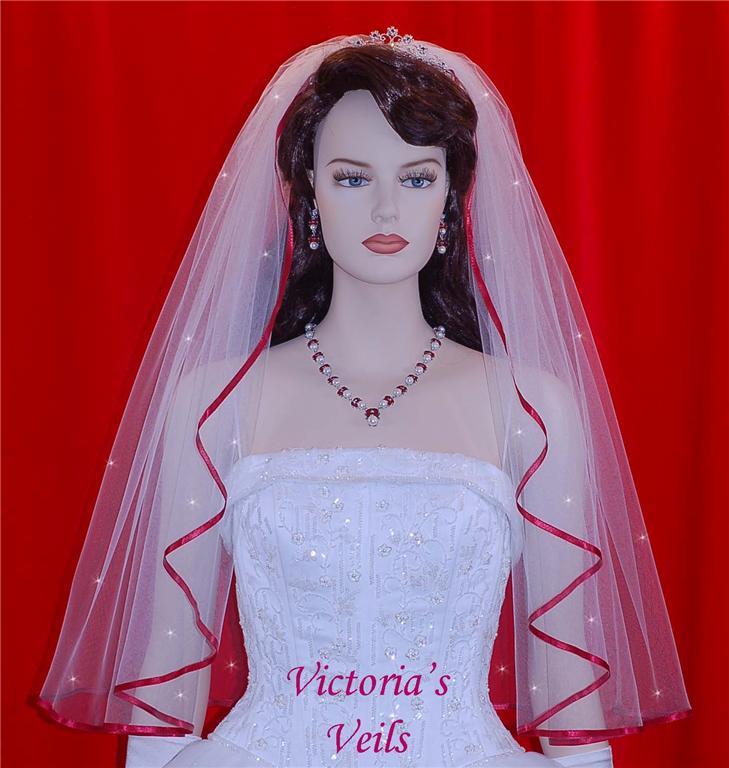 1 Tier Wedding veil with Apple ribbon