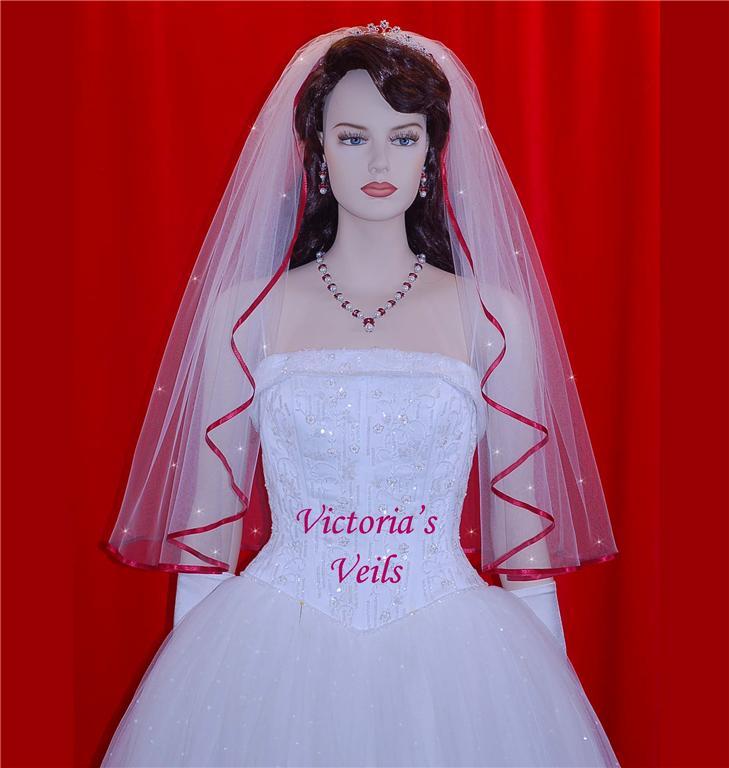 Single Tier White Wedding veil Apple Trim