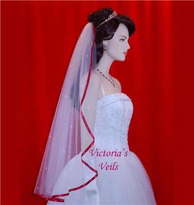 "Apple Red Bridal Swarovski Crystal  Wedding veil  36""  49R5"