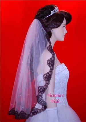 "Black Lace Swarovski Crystal Mantilla Wedding Veil 28"" L3R"