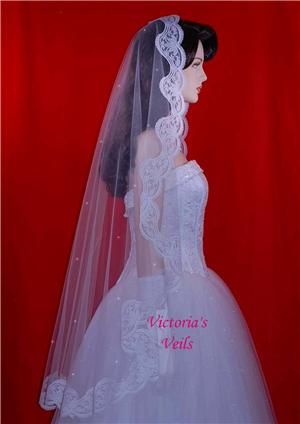 "45"" WHITE SWAROVSKI CRYSTALS WEDDING BRIDAL MANTILLA VEIL M11R"
