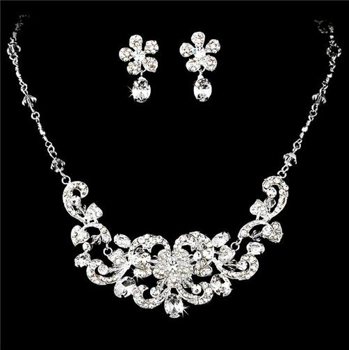 beautiful bridal wedding prom jewelry set hs8
