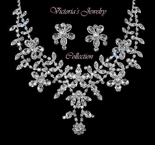 Rhinestone wedding necklace set bridal accessories