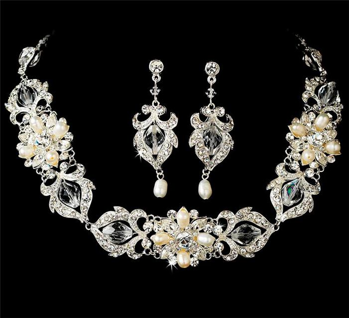 wedding bridal prom necklace earrings jewelry set