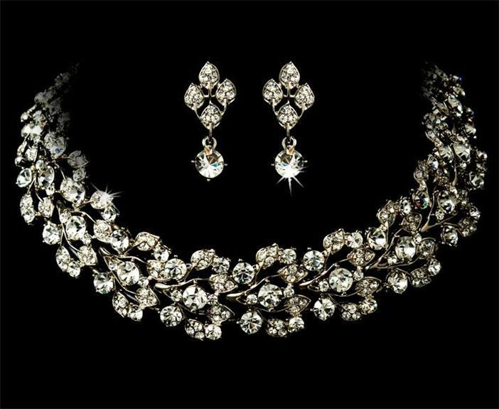 Wedding Prom Earrings Necklace Set