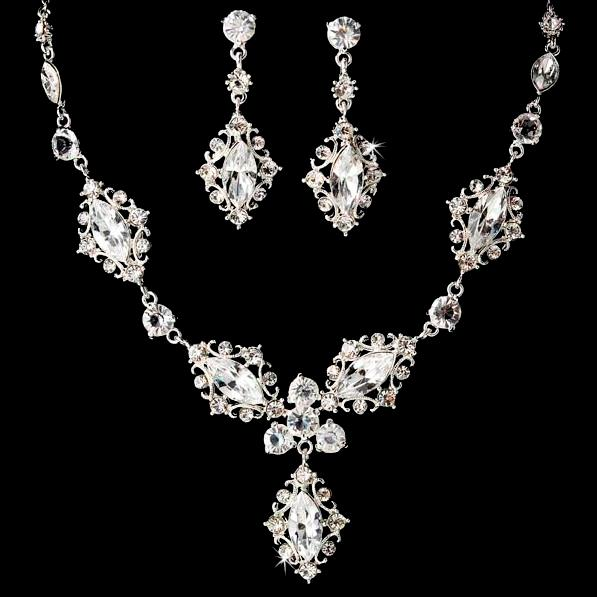 Bridal Wedding Prom Earrings Necklace Set accessories