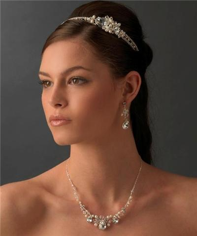 Crystal Bridal Wedding Prom Earrings Necklace Set