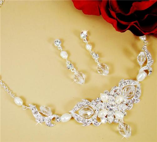 Freshwater Pearl Bridal Wedding Prom Jewelry Set