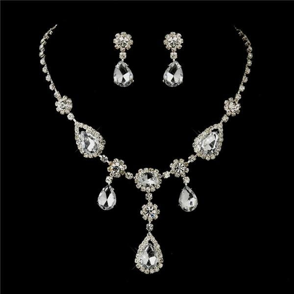 bridal prom necklace earrings