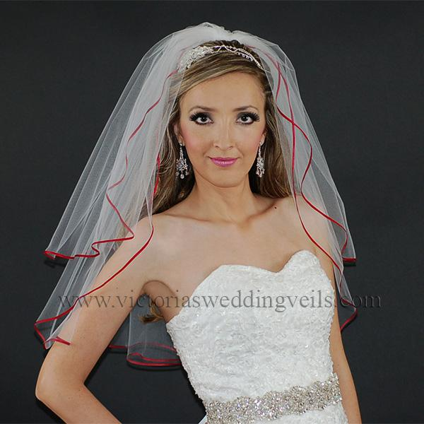 Apple Red wedding veil
