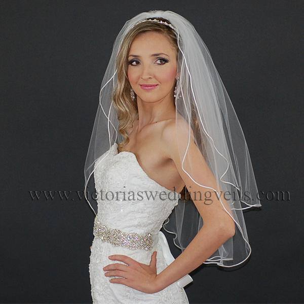 white cord edge bridal veil