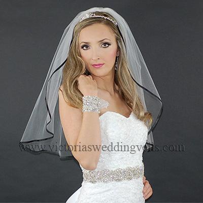 "1 Tier Bridal Veil 1/4"" Black Ribbon N8-2"