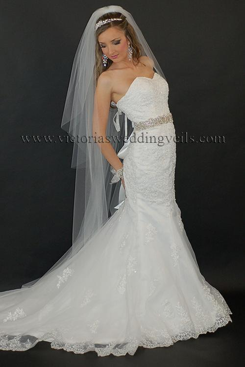blusher cathedral long veil cut edge