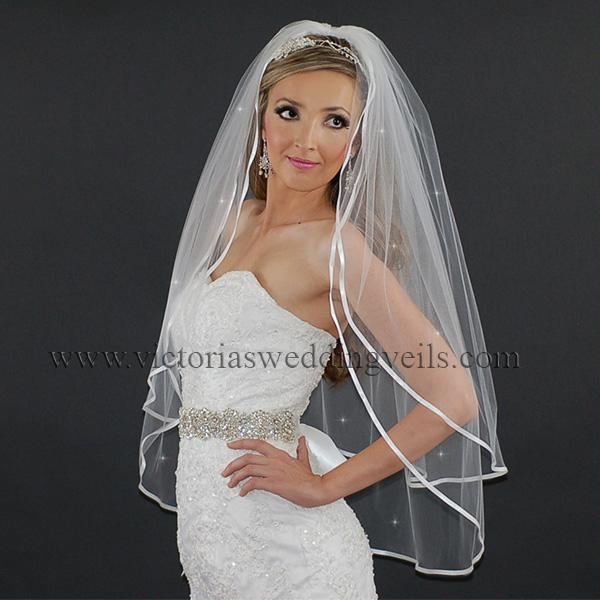 white ribbon wedding veil