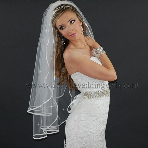 white satin ribbon veil bridal accessories