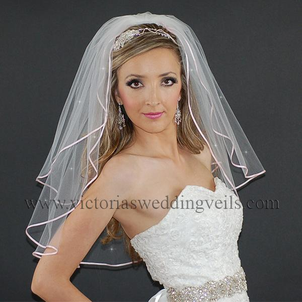 bridal veil pink ribbon edge