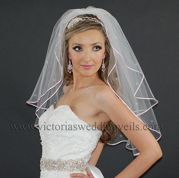 bridal veil pink ribbon