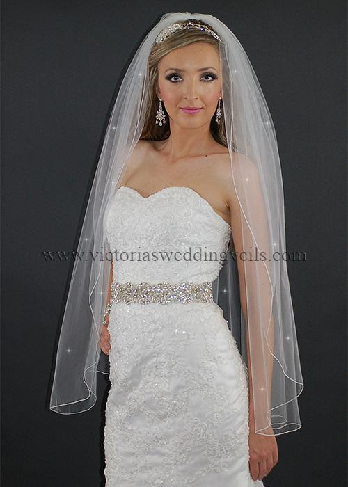 1 tier fingertip wedding veil