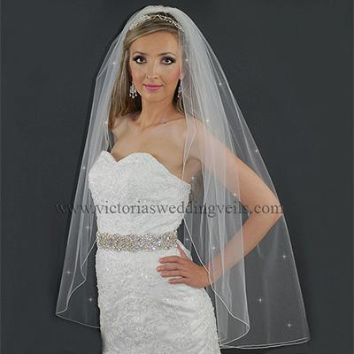 1 Layer  Bridal Veil Pencil Edge Rhinestones N7R4