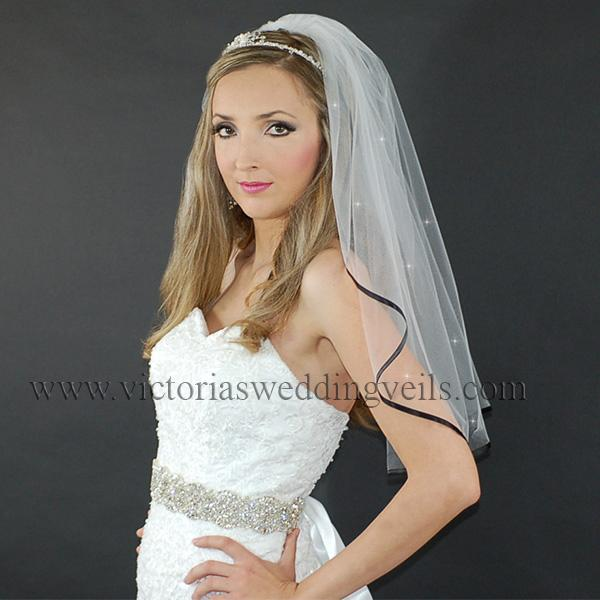 black ribbon bridal veil