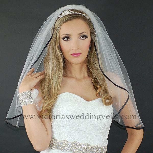 black wedding bridal veil
