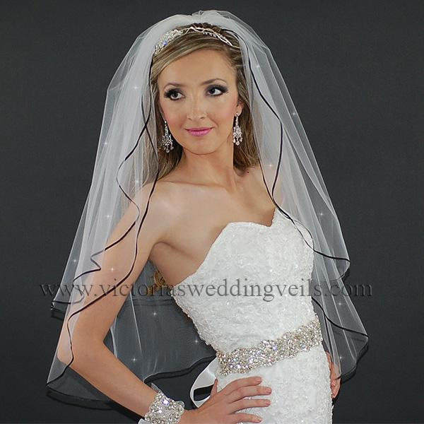 black ribbon wedding veil
