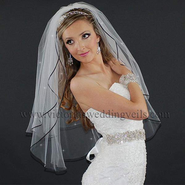 black edge bridal veil