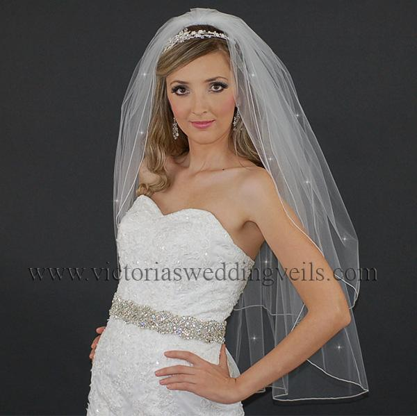 2 double layer pencil edge bridal veil