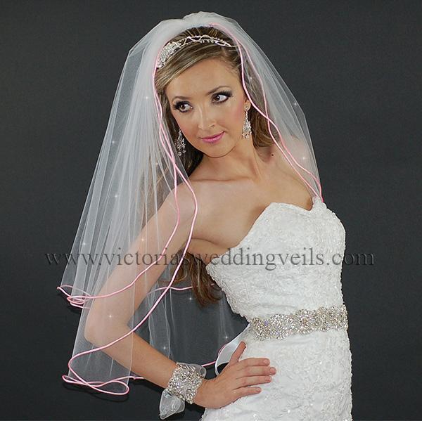 pink cord edge bridal veil