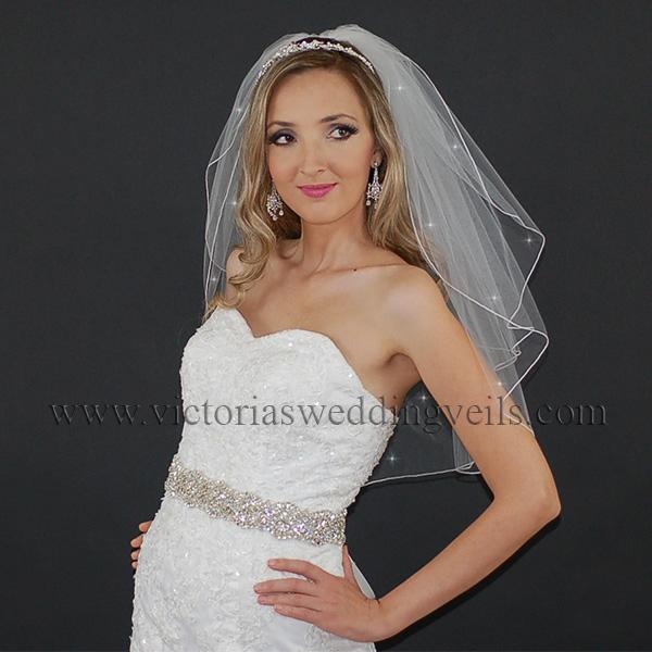 white cord edge bridal veil
