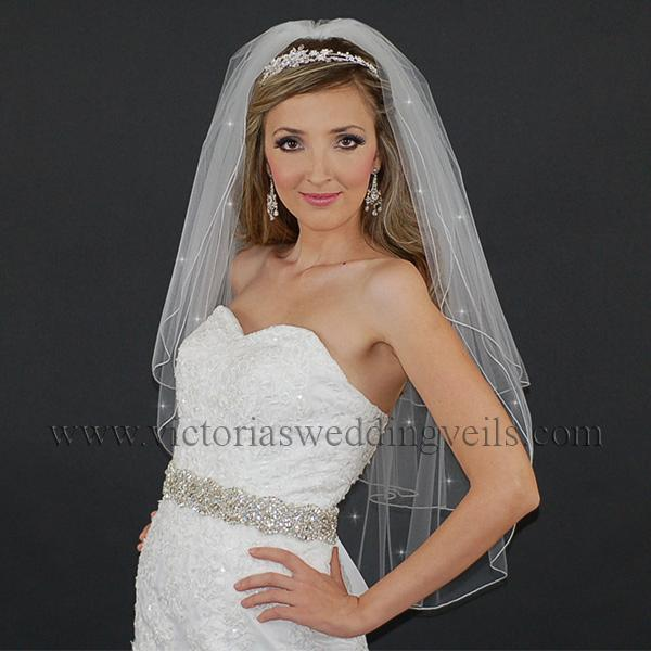 3 layer pencil edge bridal veil
