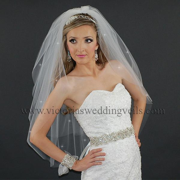 wedding veil cut edge three layer