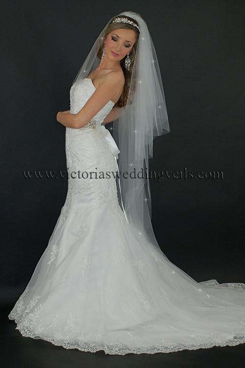 3 tier long bridal veil cut edge