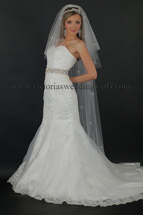 three tier blusher floor long bridal veil