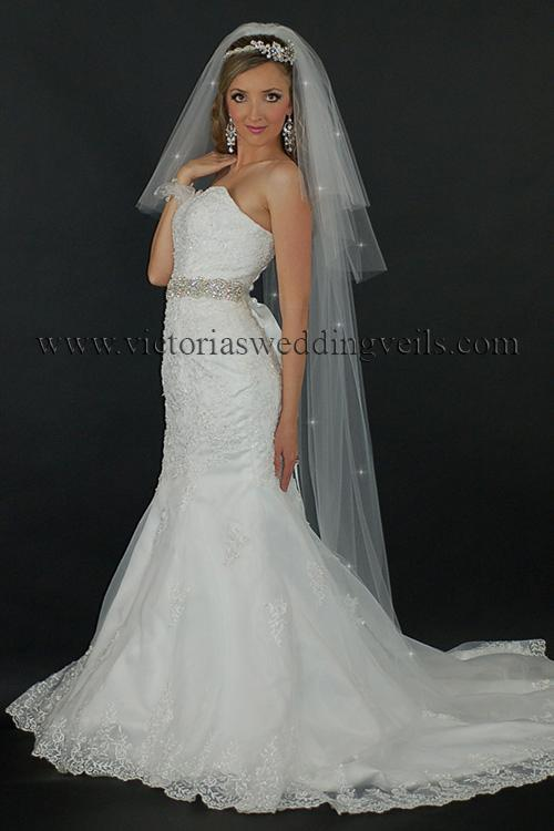 3 tier long bridal veil cut edge