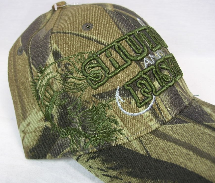 SHUT UP & FISH CAP FISHING BASS HAT CAMO OUTDOOR SPORTS ...