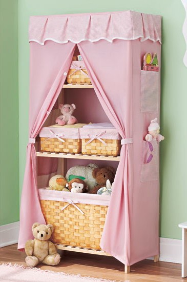 Pink baby nursery covered storage unit with shelves new for Curtain fabric for baby nursery