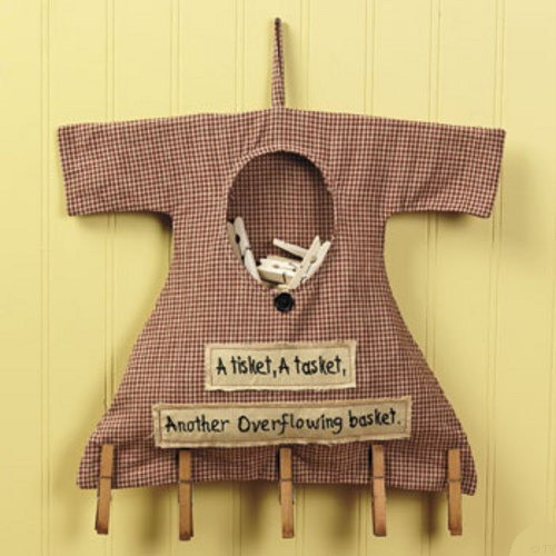 primitive country laundry room clothespin bag wooden pins wall decor ebay. Black Bedroom Furniture Sets. Home Design Ideas