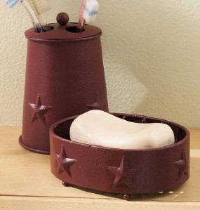 2 pc country red berry star bathroom accessory set new ebay. Black Bedroom Furniture Sets. Home Design Ideas