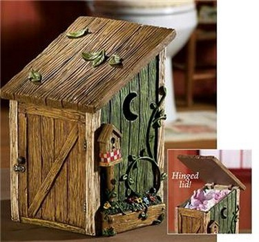 country rustic lodge cabin outhouse waste basket new ebay. Black Bedroom Furniture Sets. Home Design Ideas