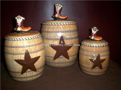 rustic cowboy boots barrel western canister set new ebay
