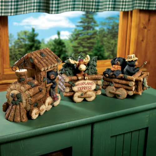 Black bear and moose nature lodge log train rustic cabin for Rustic bear home decor