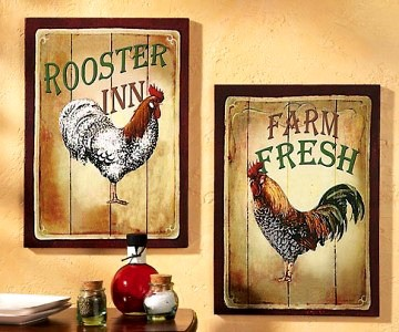 Set of 2 rustic country farm barnwood style rooster - Rooster wall decor kitchen ...
