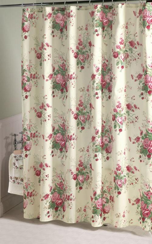 vintage white rose lace shower curtain valance set ebay. Black Bedroom Furniture Sets. Home Design Ideas