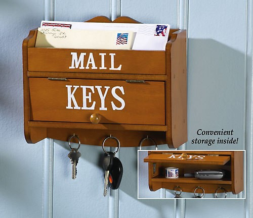 Wooden mail letter keys wall organizer holder rack new - Wooden letter and key holder ...