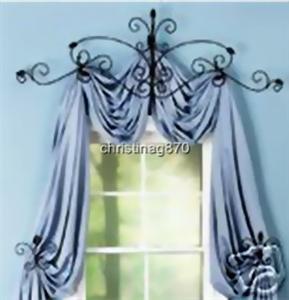 Iron Scrollwork Curtain Rod Tie Back Scarf Set New