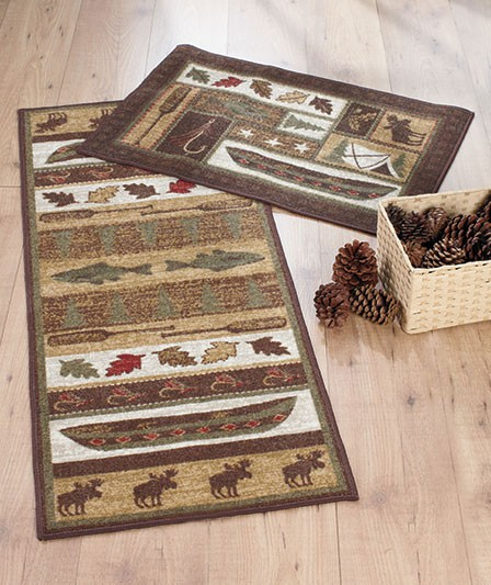 2 Pc Cabin Lodge Rug & Runner Set Canoe Fishing Moose