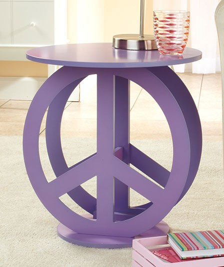 Retro hippie teens room purple hippy peace sign table new for Table sign design